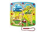 Hape E1713 Baufahrzeuge-Labyrinth Magnetlabyrinth, Magnetspiel, fördert u. a. die Feinmotorik, ab 24 Monaten