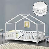 Kinderbett mit Matratze und Rausfallschutz 70x140cm Hausbett mit Lattenrost und Gitter Bettenhaus aus Holz Spielbett Weiß