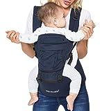 Neotech Care Babytrage & Hüftsitz - 100% Baumwolle - Tasche & abnehmbare Kopfstütze - verstellbar & atmungsaktiv - Für Neugeborene, Babys, Kleinkinder (Blau)