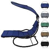 BB Sport Schaukelliege Schwingliege Schwebeliege mit Sonnendach ergonomische Liegefläche 200 x 70 cm inkl. Polsterauflage, Armauflagen und Kopfkissen, Farbe:Nachtblau