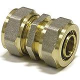 Pipetec Schraubfitting-Kupplung 20 x 2-20 x 2 Fitting Kupplung Schraubfitting für Verbundrohr DVGW
