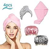 CHIFOOM 2stk Haarturban 2stk Duschhaube Set Turban Handtuch Trockenes Haar Kopfhandtuch mit Knopf Microfaser Haartrockentuch Schnelltrocknend Kopftuch für Alle Haartypen Damen Kind
