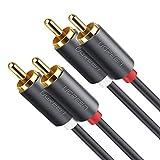 UGREEN Cinch Kabel Subwoofer Kabel Stereo Cinch Audiokabel Chinch auf Chinch RCA Kabel für Heimkino, HDTV, Hi-Fi Anlagen, BluRay Player, Spielkonsole usw. mit Vergoldeter Kontakte (2M)