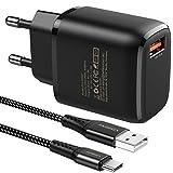 JOOMFEEN Quick Charge 3.0 USB Ladegerät mit USB Type C Ladekabel 2M, 18W QC 3.0 ladegeraet Schnellladegerät USB Netzteil für Samsung Galaxy S20/S10/S9/S8/Note 20/10/9/8,Huawei P40/P30/P20,Xiaomi Redmi