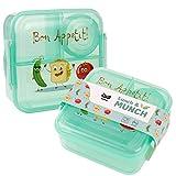 OLWO Lunchbox-Bentobox für Kinder und Erwachsenen, Brotdose für Kindergarten und Schule mit Unterteilung Einhorn und Veggie Friends (Grün)