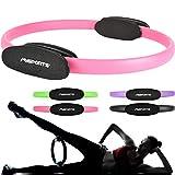 MSPORTS Pilates Ring Premium I Widerstandsring - Doppelgriff Pilates Yoga Ring 38 cm Übungskreis (Pastellpink)