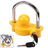 Turnart Anhängerschloss für gängige Anhängerkupplung einfache Montage Diebstahlschutz Diebstahl Anhänger Sicherung 2 Schlüssel (Gelb)