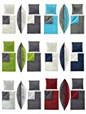 Winter UNI-Wende Cashmere Touch Bettwäsche 135x200 cm, ähnlich Nicky-Teddy-Corals Fleece, in verschiedenen Designs - 4 tlg. Set 2x135x200 + 2x80x80 cm Caschmere Bettwäsche - Stahlgrau/Petrol