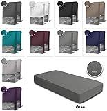 one-home 2er Pack Frottee Spannbettlaken Spannbetttuch 90x200 140x200 180x200 Baumwolle, Maße:90x200 cm - 100x200 cm, Farbe:Grau