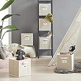 YOUDENOVA Aufbewahrungsbox 6er Pack mit Etikettenkarte Faltbox Aufbewahrungskiste Storage Boxes Ordnungsbox Faltbare Kisten 27x27x28 Beige