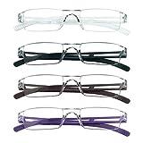 4 Paar Lesebrillen, Blaulicht-Blockierbrille, Computer-Lesebrille für Damen und Herren, Brillengestell mit rechteckigem Mode-Design (4 Mehrfarbig, 1.00)
