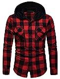 WHATLEES Herren Kariert Freizeithemd Hooded Checked Flanell, Ba0248-red, XL