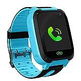 LDB Kinder Smartwatch, Phone Smart Watch Tracker Telefon LBS Micro Chat SOS Alarm Gegen Verlorene Taschenlampe Mathe Spiel Kids, Für kleine Jungen und Mädchen Weihnachts Geschenk (Blau)