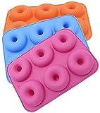 sinzau 3-Pack Silikon Donut Formen, 6 Hohlraum Antihaft-Safe Backblech Maker Pan Hitzebeständigkeit für Kuchen Keks Bagels Muffins (Rot Orange Blau)