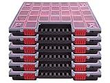 6er SET Sortimentskasten Kleinteilemagazin Sortierbox groß mit Deckel Sortierkasten Sortierkoffer Werkzeugbox Sortimentskoffer Sortimentsbox Organisationsbox Kasten mit herausnehmbaren roten Fächern