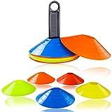Markierungshütchen Agilität Markierungsteller Set Mini Trainingskegel Kunststoffhalter Markierungskegel für Ballspiel Radsport Kinder Sportler 15pcs