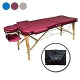 ZEN Basic III Flat Massage-Liege klappbar und höhenverstellbar – mobiler Massagetisch aus Vollholz mit verstellbarem Aluminium-Kopfteil und Kosmetik-Tisch Tasche, Farbe Burgund