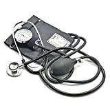 Belmalia Blutdruckmessgerät mit Doppelkopf-Stethoskop, Pumpball, Manometer, Manschette, Tasche für Rettungsdienst, Arzt, Praxis, Manuell, Schwarz
