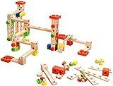 Playtastic Murmelbahn Holz: Kugelbahn-Bausatz aus Holz, 50-teilig (Kugelbahn Komplett-Set)