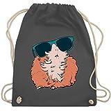Shirtracer Sonstige Tiere - Meerschweinchen mit Sonnenbrille - Unisize - Dunkelgrau - meerschweinchen - WM110 - Turnbeutel und Stoffbeutel aus Baumwolle