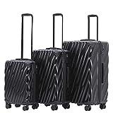MÜNICASE TSA Schloß Handgepäck 4 Rollen Hartschalen-Koffer Trolley Rollkoffer Reisekoffer Koffer-Set (Schwarz, 3er Set)