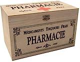 khevga Aufbewahrungsbox mit Deckel: Holz-Box Medikamente Deko (23 x 13 x 13 cm)
