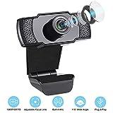 IVSO Webcam 1080P mit Mikrofon, PC Laptop Desktop USB 2.0 Full HD Webkamera, Plug & Play für Desktop PC,Laptop, ideal für Konferenzen, Live Übertragungen, Gaming PC, Videoanruf, Skype, WebEx-Schwarz