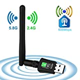 WLAN Stick WiFi Adapter 600Mbps mit 5dBi Antenna Mini Dual Band 2.4GHz/5GHz Wireless USB Empfänger 802.11ac/n/g/b Netzwerk Dongles,für PC,Windows XP/7/8/10/Vista/TV Box Keine CD benötigt Plug & Play