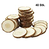 Smart-Planet® 40 Holzscheiben Set - Runde Baumscheiben Ø ca. 9-10 cm - Holz Scheiben Naturholz - zum Basteln - Dekoration - Hochzeit - Weihnachten