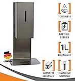 MyMAXXI | Mobiler Hand Desinfektionsmittelspender Sensor Steel Tisch & Tresen Edelstahl Set 1x 1L Desinfektionsmittel stehend automatisch | touchless disinfection | Desinfektionsspender Standfuß