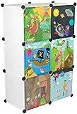 KEKSKRONE Großer Kinderschrank Bunte Motiv-Türen - DIY Stecksystem - 6 Module je 37 x 37 x 37 cm, Weiß   Kinderzimmer-Schrank   Kinderkleiderschrank   Baby-Regal   Spielzeugkommode