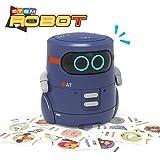 REMOKING Intelligent Roboter Kinder Spielzeug, Kartenspiel - Englische Version, Touch-Steuerung, Sprachaufnahme, Nachsprechen, Tanzen, Musik, Geschenke für Jungen Mädchen(Blau)