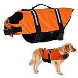 Warmiehomy Hundeschwimmweste Schwimmweste für Hund Reflektierend Rettungswesten Schwimmtraining für Hunde/Haustiere Sommer Badebekleidung für Haustiere, Orange, XS