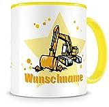 Samunshi Kinder-Tasse mit Namen und einem Bagger als Motiv Bild Kaffeetasse Teetasse Becher Kakaotasse Nr.5: gelb H:95mm / D:82mm