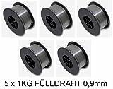5 x 1KG Fülldraht 0,9mm SCHWEIßDRAHT MIG/MAG - 5 Rollen - ohne Gas E71T-GS FLUX CORE