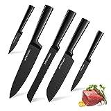 HOBO Küchenmesserset, Professional 5-teiliges Messerset aus Edelstahl Schwarz, gezahntes und scharfes Standard-Kochmesser, Brotmesser zum Zerkleinern, Hacken, Schneiden