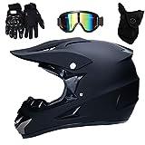 Motocross Helm Matte Schwarz, Herren Crosshelm mit Brillen Maske Handschuhe (4Pcs), Adult Motorrad Sports Damen Männer Enduro Downhill Helm ATV MTB Quad Motorräder Off-Road-Motorrad-Helm,L(56~57cm)