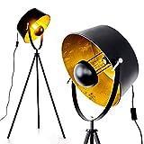 Stehlampe Jupiter, Vintage Stehleuchte in Schwarz/Gold aus Metall m. Gestell aus Metall, Ø 40cm, E27-Fassung, max. 60 Watt, verstellbare Bodenleuchte im Retro-Design, geeignet für LED Leuchtmittel