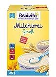 Bebivita Milchbreie ohne Zuckerzusatz-Großpackung, Milchbrei Grieß, 4er Pack (4 x 500 g)