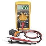 Hama Digital Multimeter (Spannungsprüfer inkl. Batterie, Spannungsmesser bis 250V, Widerstand Messung, Multifunktions Strommessgerät mit Hintergrundbeleuchtung) Schwarz/Gelb