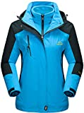 TACVASEN Damen 3-in-1 Jacke Wasserdicht Fleece Gefüttert Kapuzenmantel für Winter Outdoor Ski Sports, Blau, XL