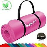 Movit Pilates Gymnastikmatte, Yogamatte, phthalatfrei, SGS geprüft, 183 x 60 x 1,0cm, Yoga Matte in Pink