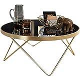 FineBuy Design Couchtisch Ø 82 cm Schwarz matt Gold Beistelltisch Metall/Glas | Tisch mit Glasplatte | Ablagetisch modern | Großer Wohnzimmertisch | Glastisch mit Metallgestell