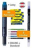 Online Vorteils-Pack Tintenpatronen & Tintenlöscher | 80 Universal-Tintenpatronen | Großraum-Patronen in königsblau, löschbar, auswaschbar | 8x Tintenlöscher zum Löschen und Überschreiben