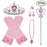 Vicloon Prinzessin Kostüme Eisprinzessin Set of 9, ELSA Handschuhe, Pfirsichherz Krone , Zauberstab, Halskette, Ring, Ohrring. ( Pink)