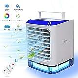Mobile Klimageräte, 4 in 1 Luftkühler Mini Persönliche Klimaanlage, Luftbefeuchtung Ventilator Nachtlicht 3 Leistungsstufen 7 Verschiedene Farben Ideal für Arbeitsplatz und Daheim