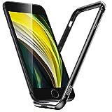 ESR Bumper Hülle kompatibel mit iPhone SE(2020)/8/7 - Metallrahmen Schutz mit weichem inneren Bumper [Keine Signalstörungen] [Erhöhter Kantenschutz] für iPhone SE(2020) - Schwarz
