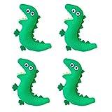 Amosfun 4Pcs Plüsch Dinosaurier Broschen Pin Entzückende Cartoon Abzeichen Brosche Kleidung Tasche Zubehör Grün
