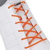 SULPO Elastische Schnürsenkel mit Metallverschluss – Ohne Binden – Silikonschnürsenkel S009 (Orange)