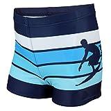Aquarti Jungen Badehose Gestreift mit Motiven, Farbe: Dunkelblau/Blau, Größe: 158